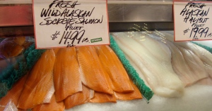 Sokeye salmon and halibut at Pike St. Market in Seattle