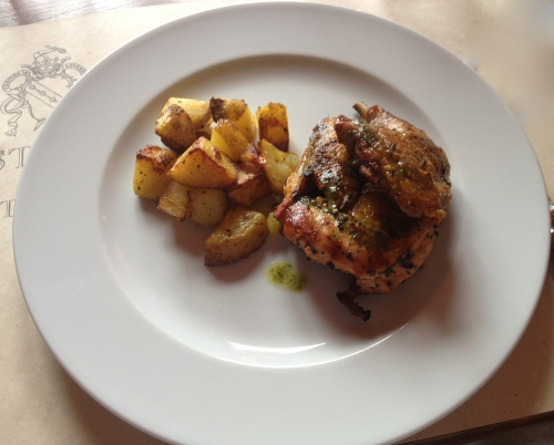 Tender chicken with crispy potato wedges