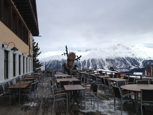 Food, art and view from the slopes above St Moritz