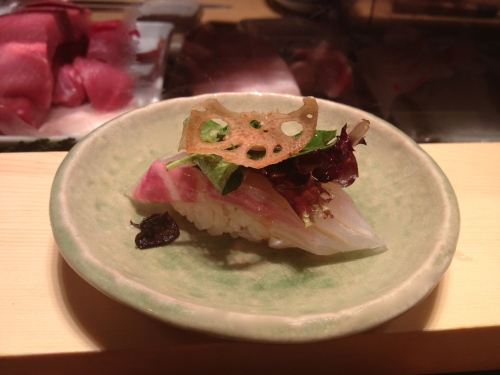 Red snapper with lotus sushi omakase