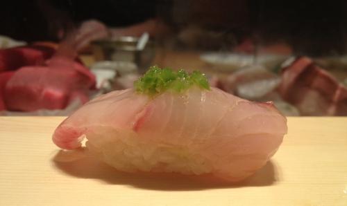 White fish with scallions sushi omakase