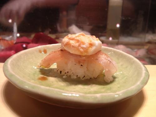 White fish with egg sushi omakase