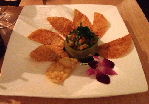 BIG EYE TUNA TARTARE with wonton chips