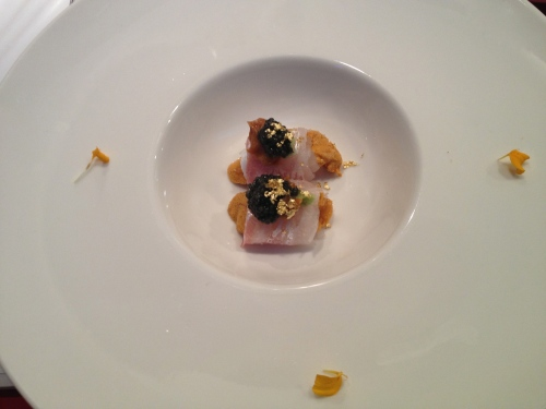 Uni with caviar and white fish