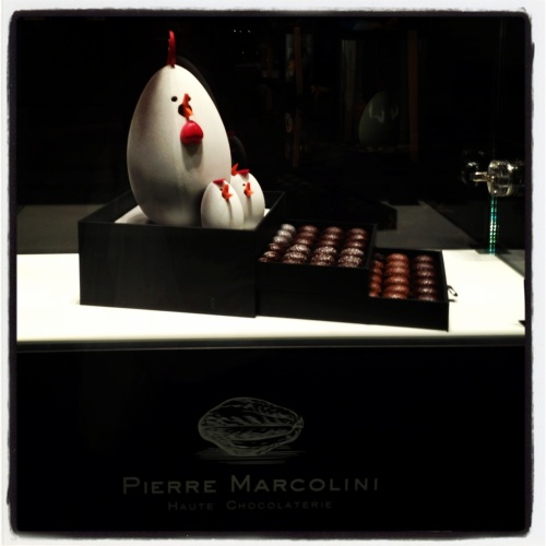 Chocolate hen and chicks at Pierre Marcolini in Monaco