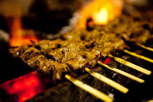 Anticuchos de corazon (beef heart skewers)